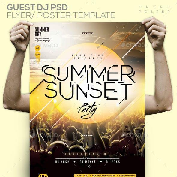 Summer Sunset Party Template PSD Flyer/Poster
