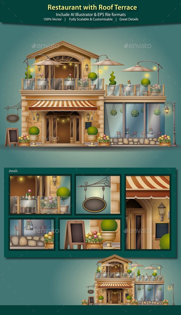 Restaurant with Roof Terrace - Buildings Objects