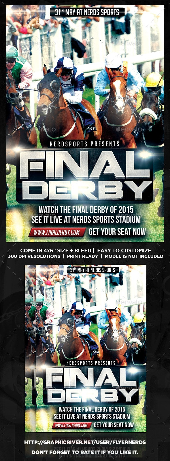 Final Derby Horse Racing Championships Flyer  - Sports Events