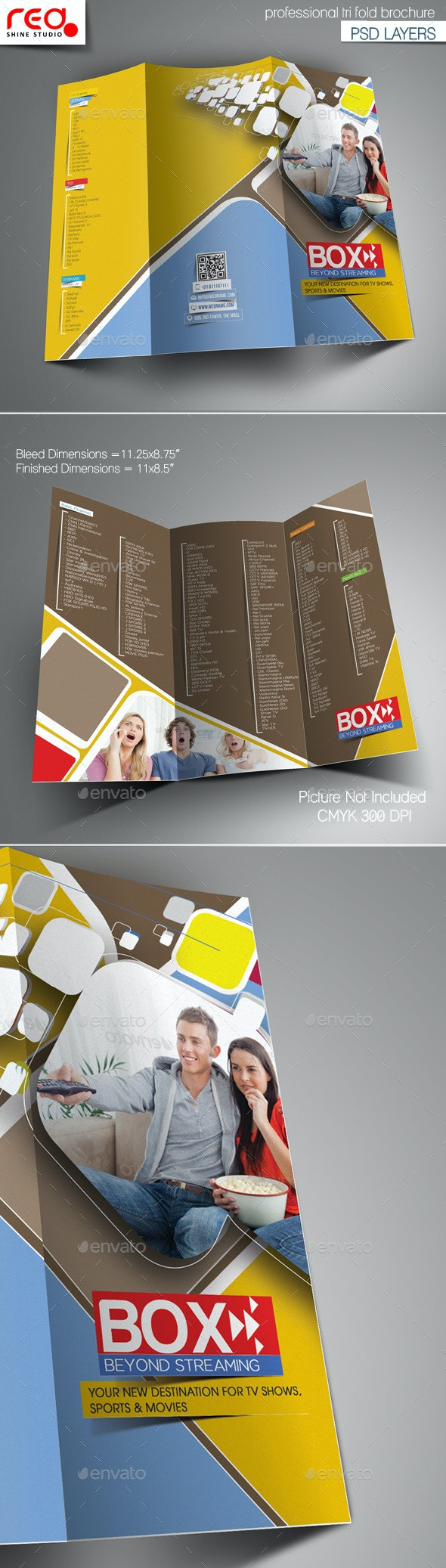 Videos Streaming Trifold Brochure Template - Brochures Print Templates