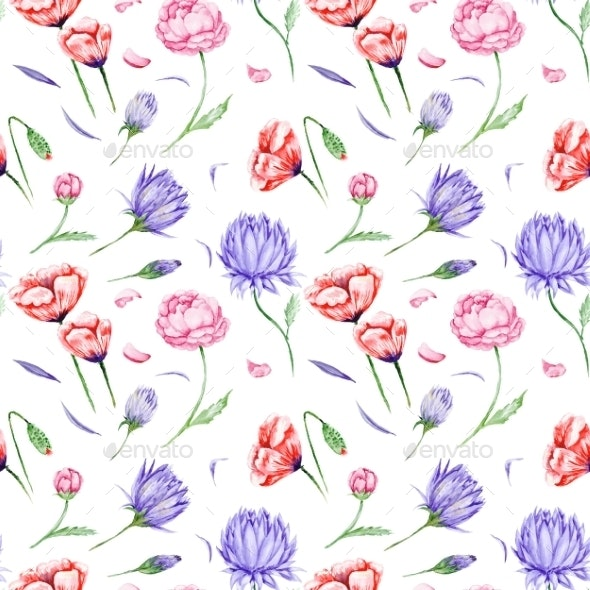 Watercolor Floral Pattern - Nature Backgrounds