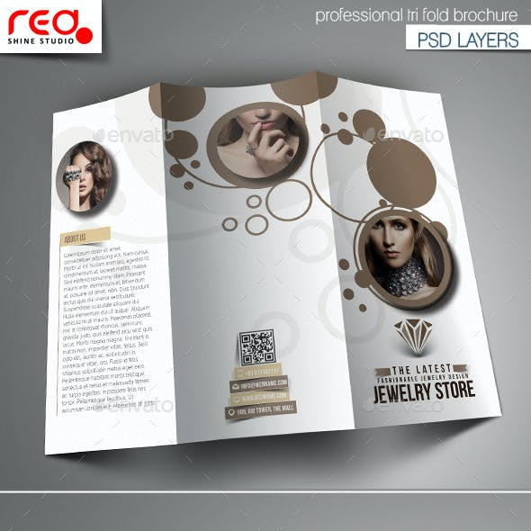 Jewelry Store Trifold Brochure Template.