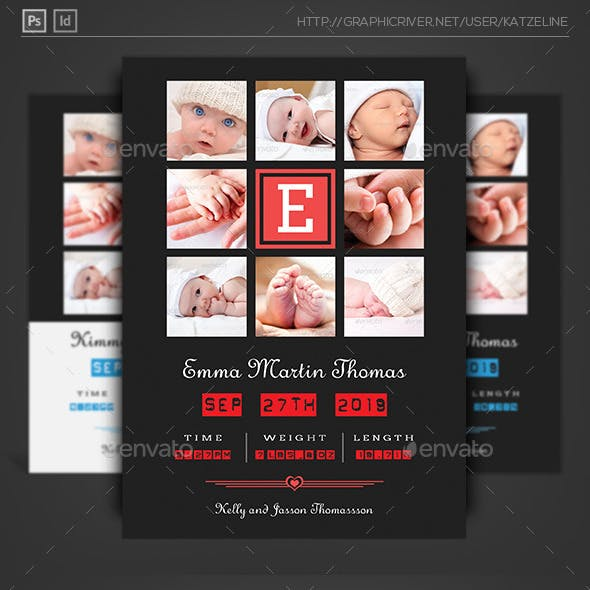 Baby Announcement Card - Triple Square