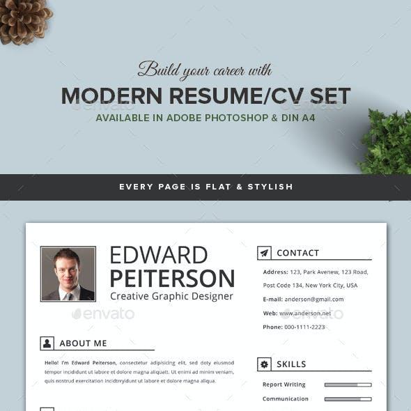 2 Pages Modern Resume/CV Set