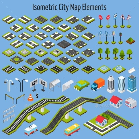 Isometric City Map Elements
