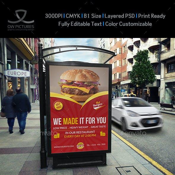 Burger Restaurant Poster Template Vol.3