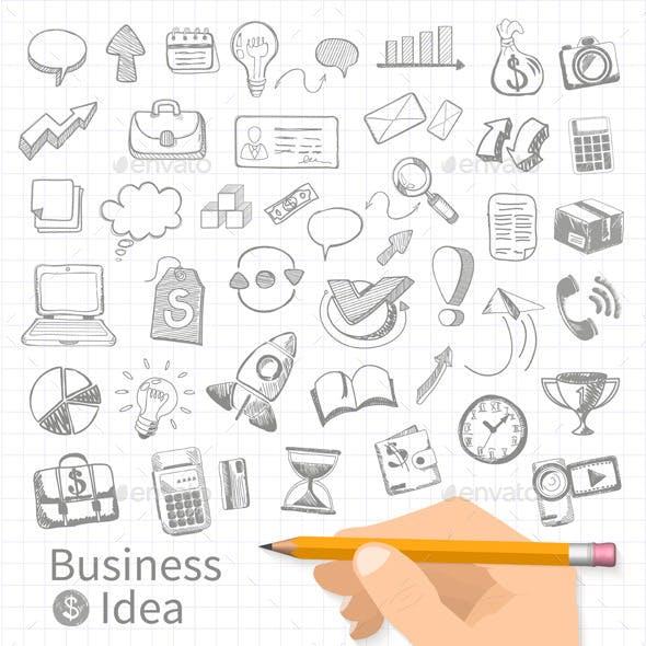 Set of Doodle Business Management