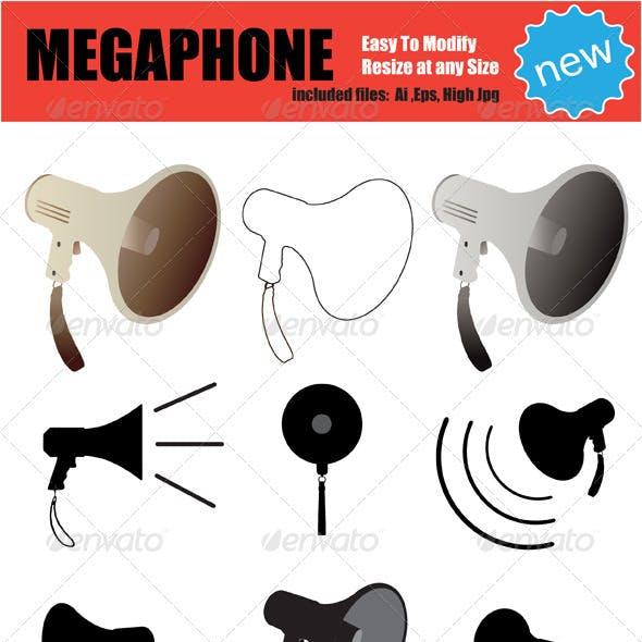 Vector Megaphone Silhouette Set