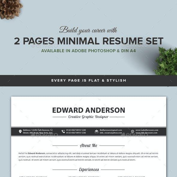 2 Pages Minimal Resume/CV Set