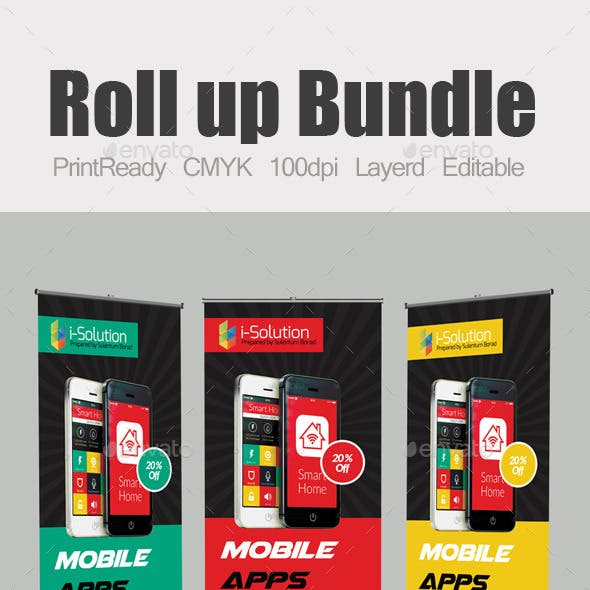 Mobile App Roll Up Banners Template Bundle