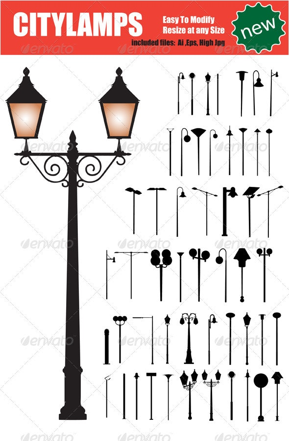 Vector Citylamps Silhouette Set - Man-made Objects Objects