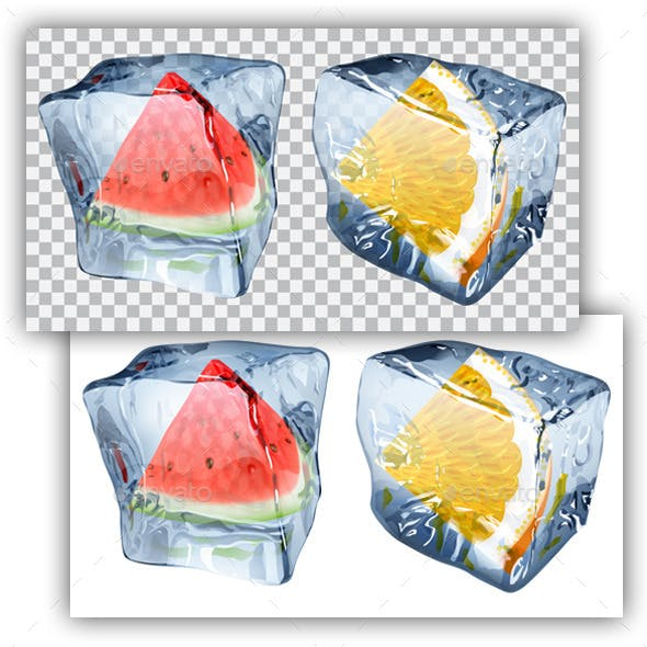 Ice Cubes with Watermelon and Orange