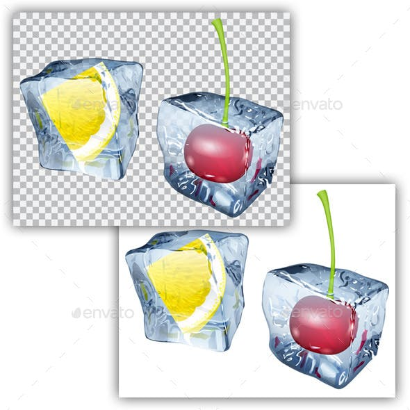 Ice Cubes with Lemon and Cherry