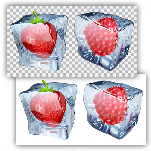 Ice Cubes with Strawberry and Raspberry