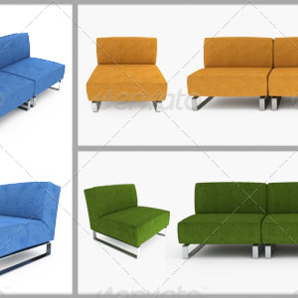 Set of furniture. 3D illustration.