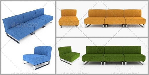 Set of furniture. 3D illustration. - Objects 3D Renders