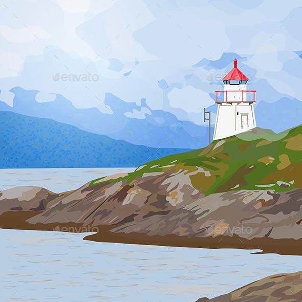 Lighthouse on Fjord Coast