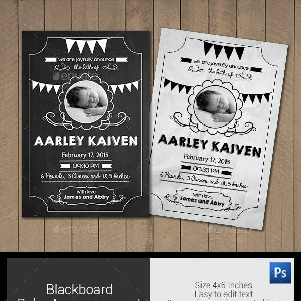 Blackboard Baby Announcement Card