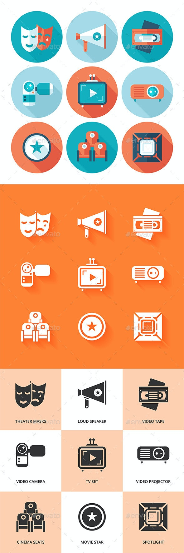 Flat cinema icon set. - Media Technology