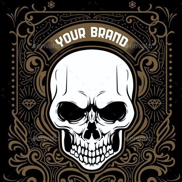Skull & ornament theme Tshirt Design