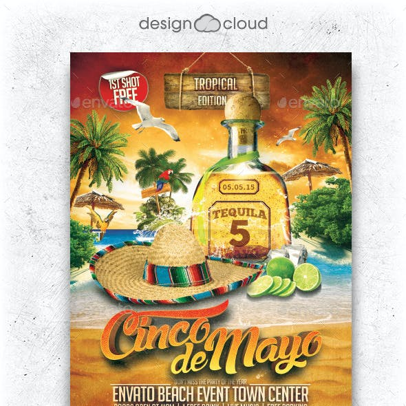 Cinco De Mayo Beach Party Flyer Template