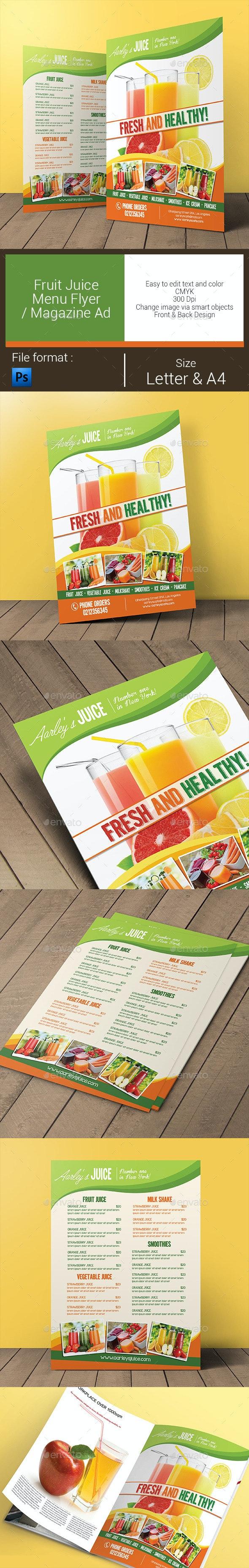 Fruit Juice Menu Flyer / Magazine Ad - Food Menus Print Templates