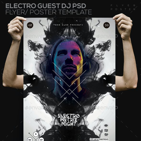 Electro Guest Dj PSD Flyer/ Poster Template