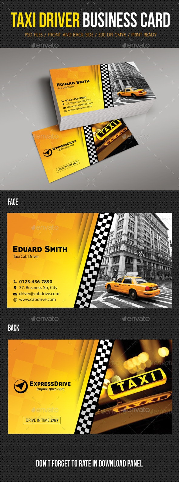 Taxi Driver Cab Business Card - Industry Specific Business Cards