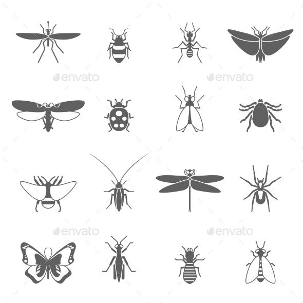 Insects Black Icons Set - Animals Characters
