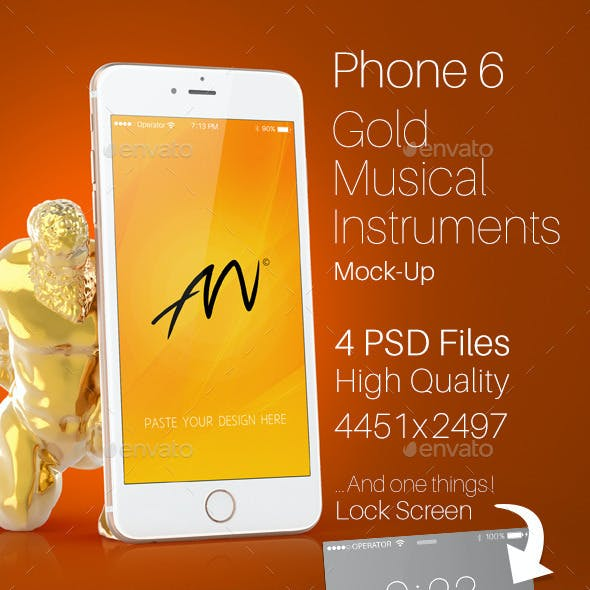 Phone 6 Gold Musical Instruments Mock-Up
