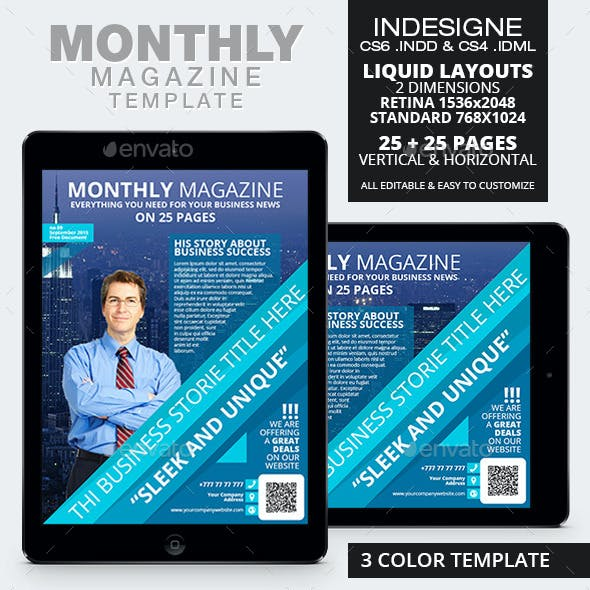 Monthly Magazine Tablet Template