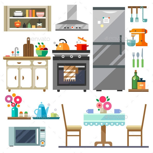 Kitchen Interior. Home Furniture - Objects Vectors