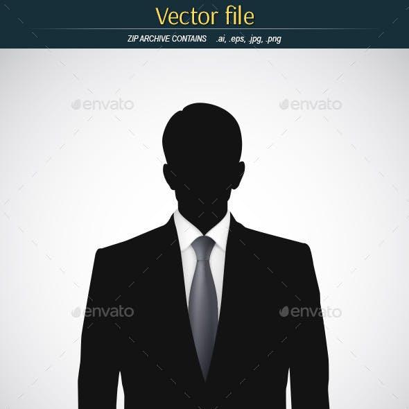 Man with Tie Black Silhouette