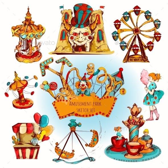 Amusement Park Colored Set