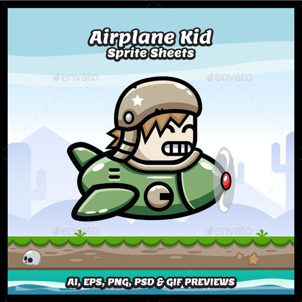 Game Character Air Plane Kid Sprites