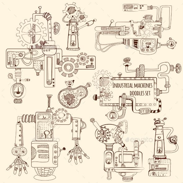 Industrial Machines Doodles Set