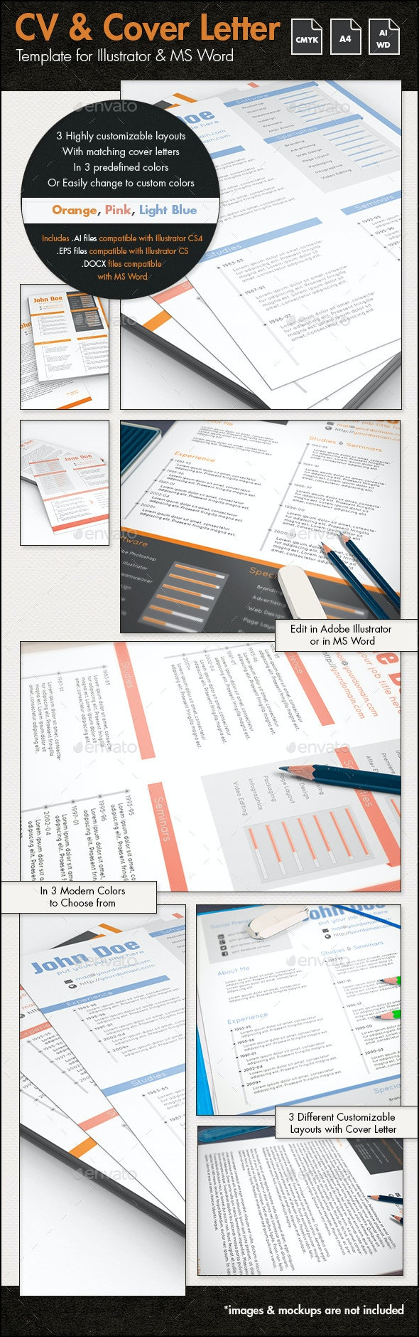Creative Resume and Cover Letter - A4 Portrait - Resumes Stationery