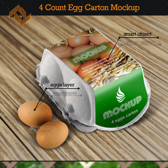 4 Count Egg Carton Mockup