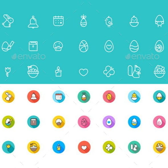 Easter Icons Pack Flat Colorful + Stroke 21 Items