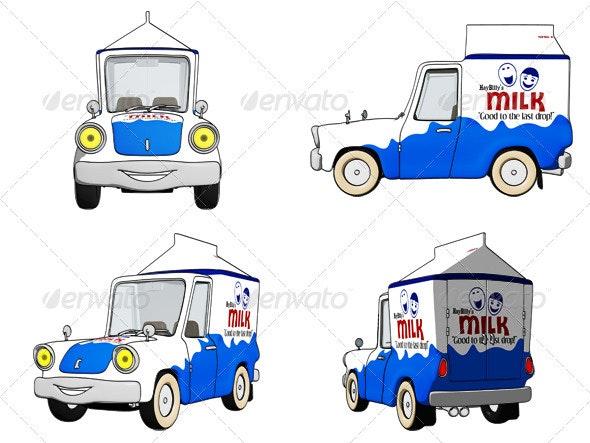 Cartoon Milk Truck - Objects Illustrations