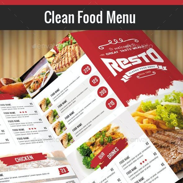 Clean Food Menu
