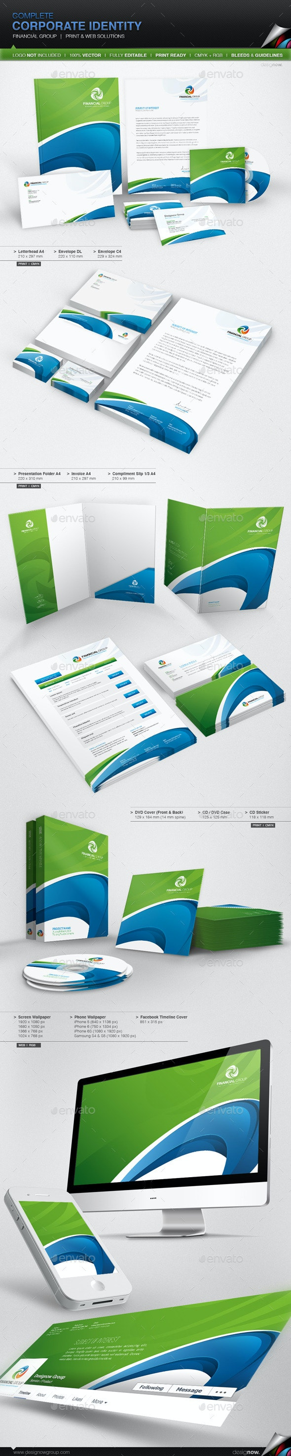 Corporate Identity - Financial Group - Stationery Print Templates