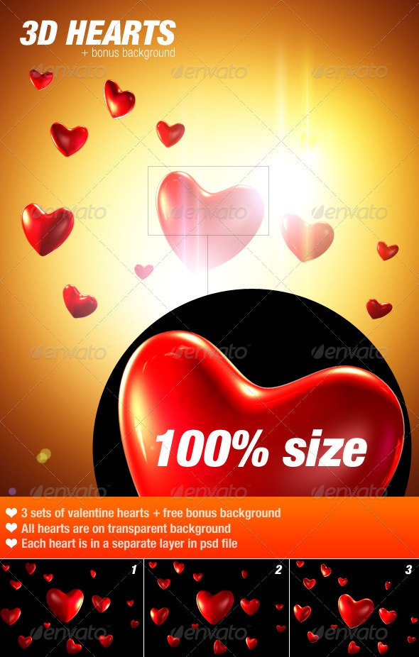 3D Valentine Hearts - Objects 3D Renders
