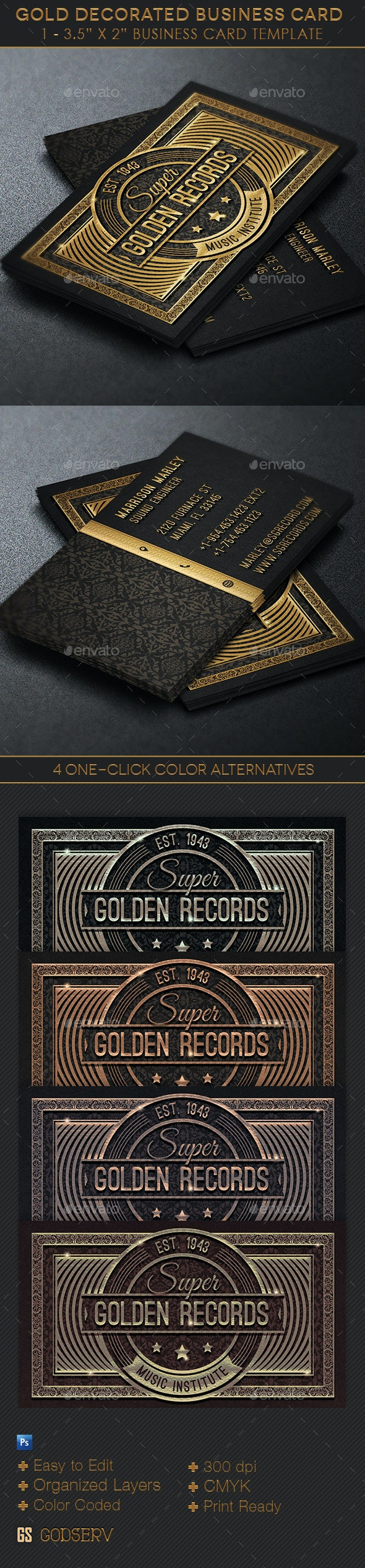Gold Decorated Business Card Template - Industry Specific Business Cards