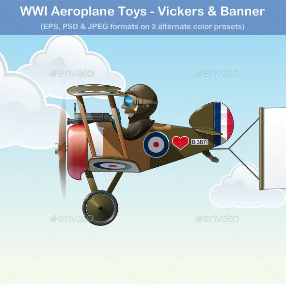 WWI Aeroplane Toys - Vickers & Banner