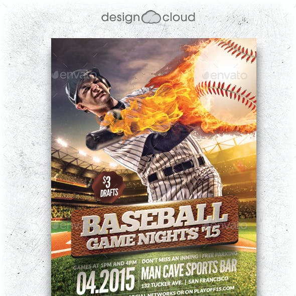 Baseball Game Nights Flyer Template