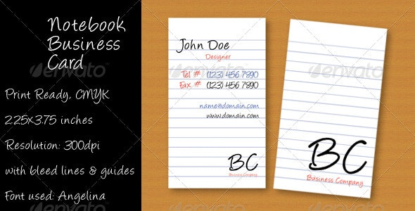 Notebook Business Card - Creative Business Cards