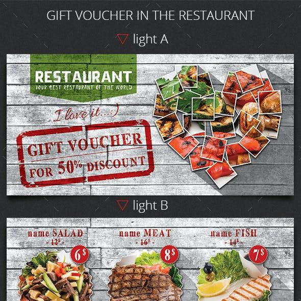 Gift Voucher in the Restaurant. Template