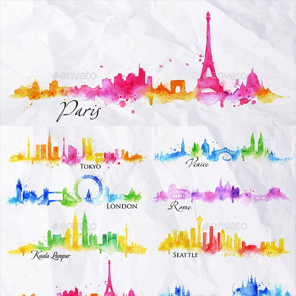 Watercolor Cities Silhouettes