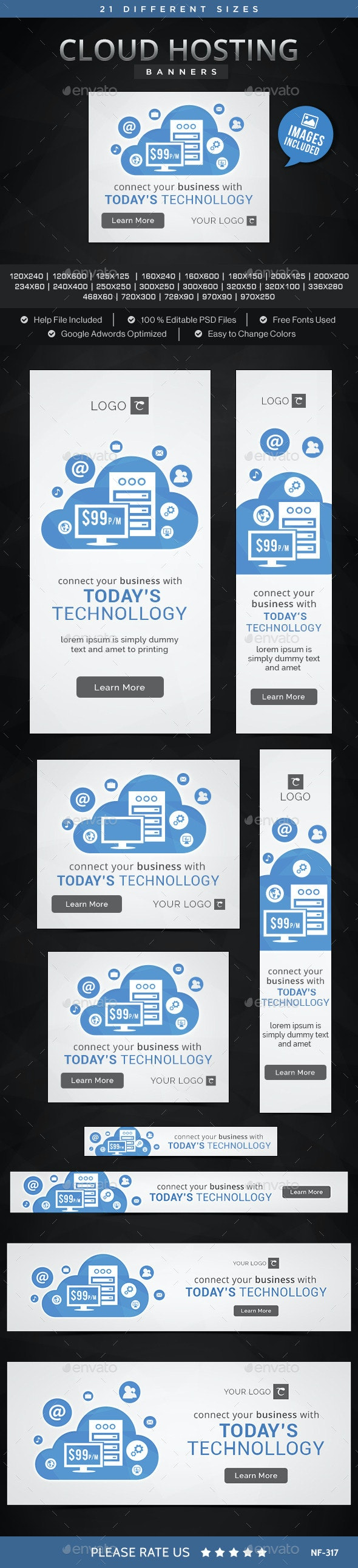 Cloud Hosting Banners - Banners & Ads Web Elements